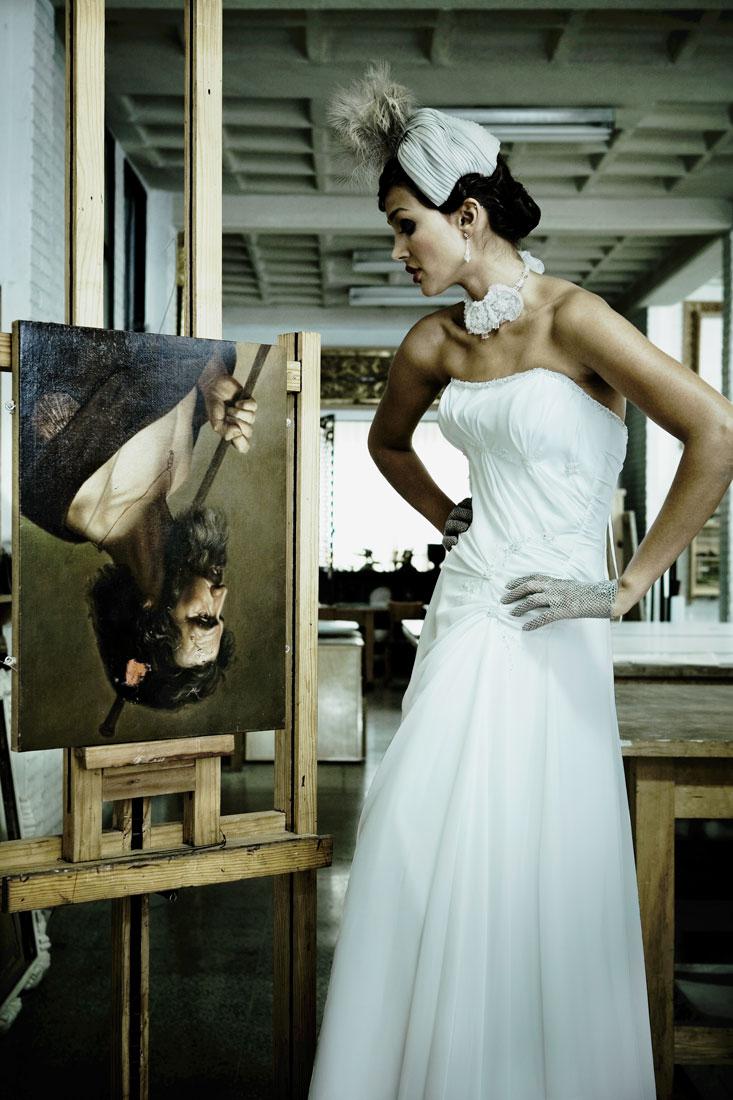 Mariée avec peinture à l'envers